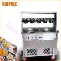 Novo condicionador de Tailândia frito máquina de sorvete de leite em aço inoxidável fry máquina de sorvete com tampa de vidro