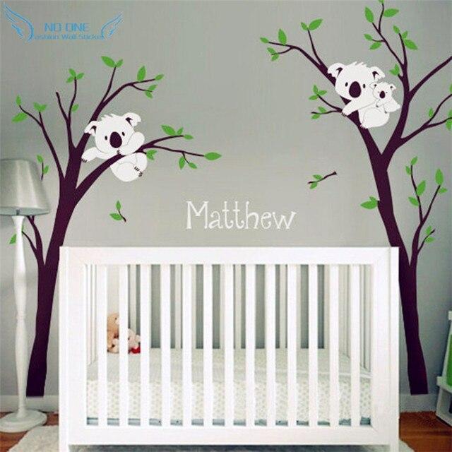 baby nursery bedroom wall decor koala tree and custom name wall