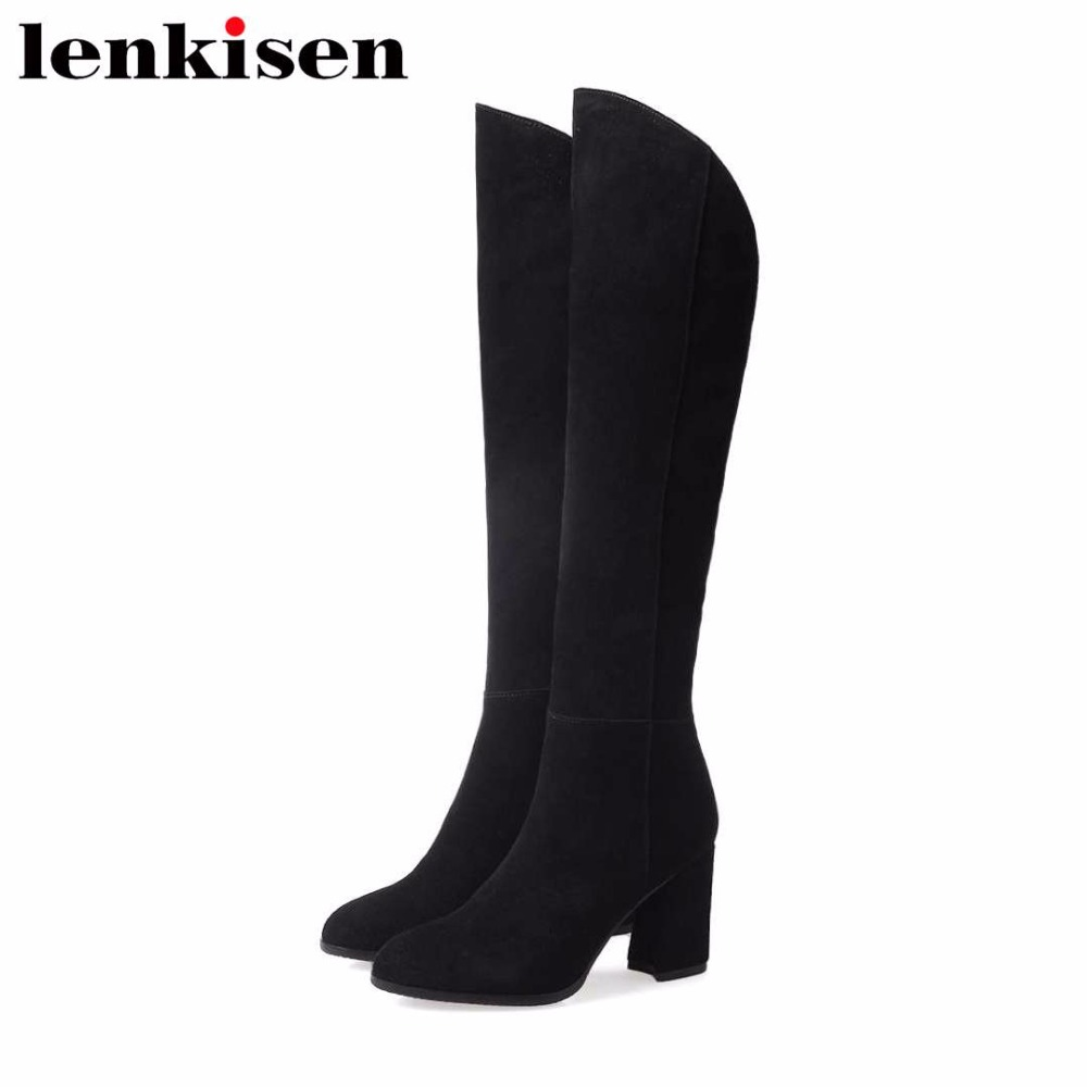 Lenkisen hot sale cow suede round toe strange high heels high fashion office lady sexy woman winter luxury knee-high boots L59Lenkisen hot sale cow suede round toe strange high heels high fashion office lady sexy woman winter luxury knee-high boots L59