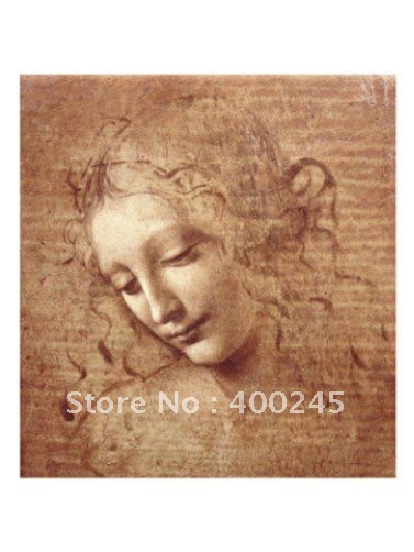 Fanmous Paintings by Leonardo da vinci Female Head (La Scapigliata) Lady Portrait art reproduction Hand painted Canvas Painting