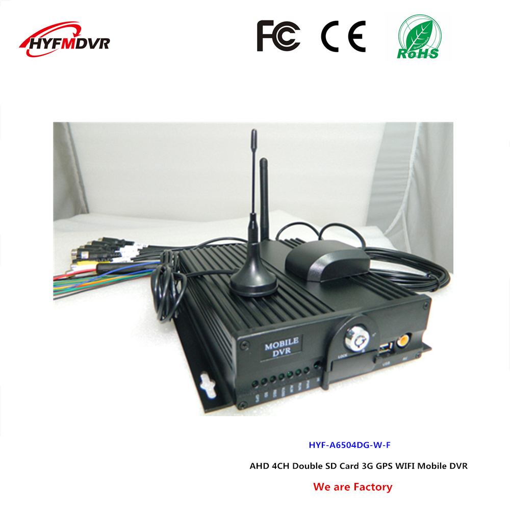 3G GPS WiFi mdvr 4 channel car video recorder dual SD card monitor host support banknote