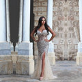 2016 Abendkleider Light Champagne Mermaid Evening Dresses With Crystals Sweetheart High Side Split Sexy Women Prom Party Gowns