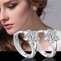 1 Pair Fashion Ladies Solid Silver plated Zircon snowflake Ear hoop Earrings Hot Sale 2015