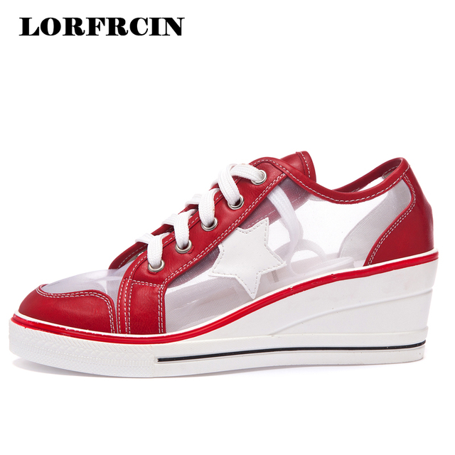 27acbcb75229 LORFRCIN Summer Shoes Woman Wedges Sneakers For Women Platform Sandals  Breathable Mesh White Women s Casual Shoes Tenis Feminino