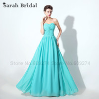 Turquoise Color Bridesmaid Dress Chiffon Robe De Demoiselle D Honneur Femme Pleat Long Cheap Dresses For