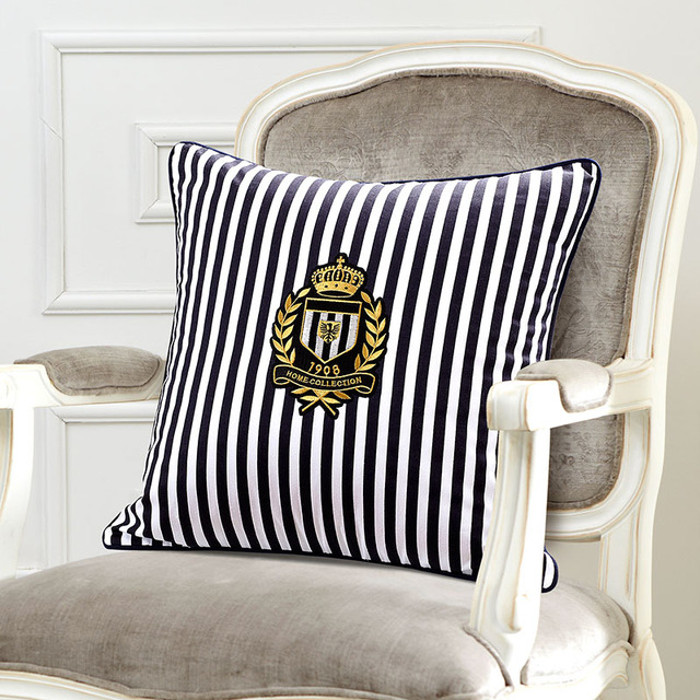 "18"" navy Style Cushion Cover stripe pillow covers decorative sofa cushion pillowcases High-grade"