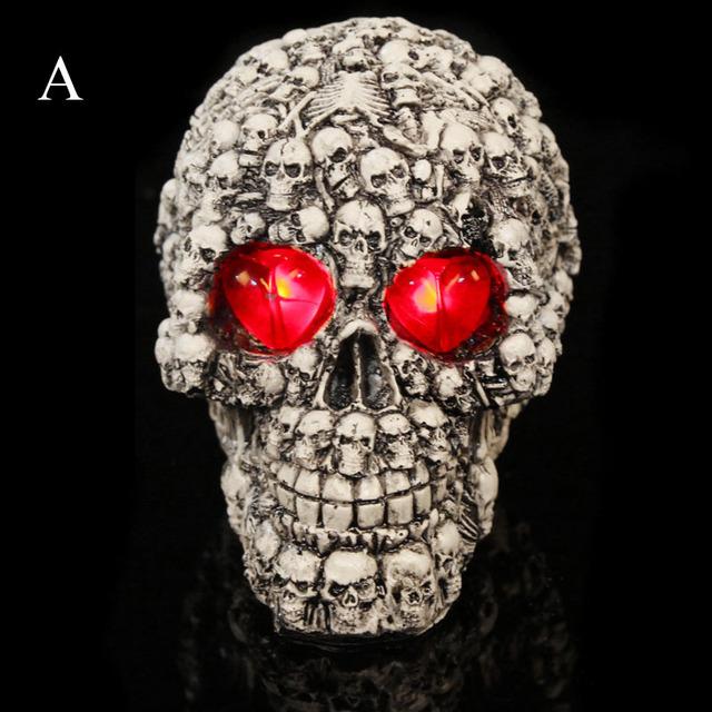 Horror criativo Flash LED Resina Crânio Paródia Terrorista Adereços Festa de Halloween DIY Ferramenta Decoração Caçoa o Presente