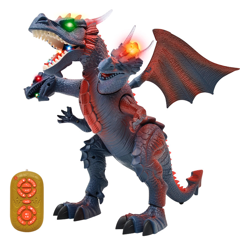 Early Childhood Education Children RC Toy Sound Light Dance Story Remote Control Electric Walking Dinosaur Three Head Dragon Toy