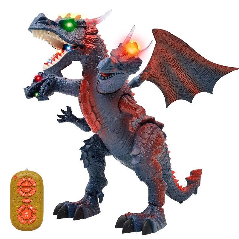 L'éducation de la petite enfance enfants RC jouet Sound light danse histoire télécommande dinosaure marche électrique trois tête dragon jouet