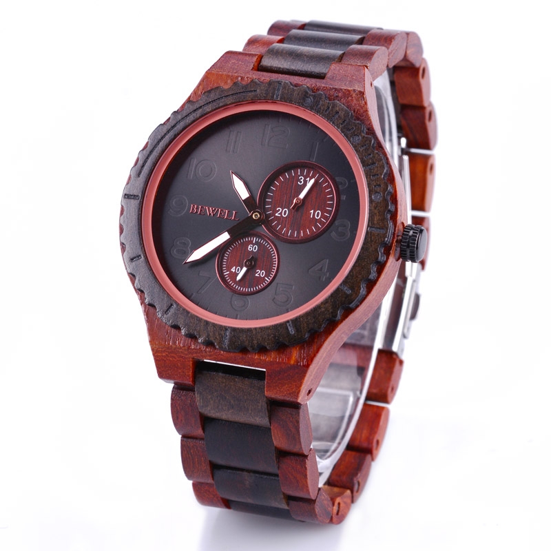 Bewell Mens Watches Wristwatches-Maple-Zabra Luxury Top Wood Black W154A Male
