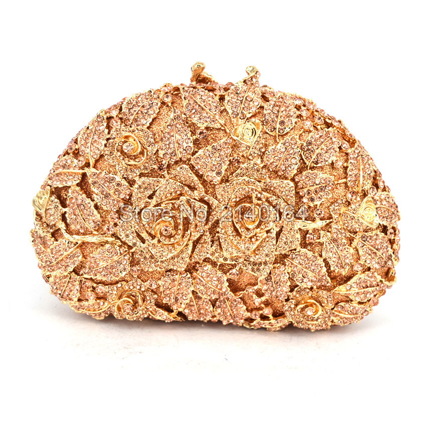 Women Champagne color Rose Clutch Bag Crystal Flowers Lady Clutches Elegant Shinny Rhinestones Evening Diamond Bags (88303-F) yuanyu 2018 new hot free shipping real python leather women clutch women hand caught bag women bag long snake women day clutches