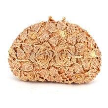 Frauen Champagner farbe Stieg Handtasche Kristall Blumen Dame Kupplungen Elegante Shinny Strass Abend Diamant Taschen (88303-F)