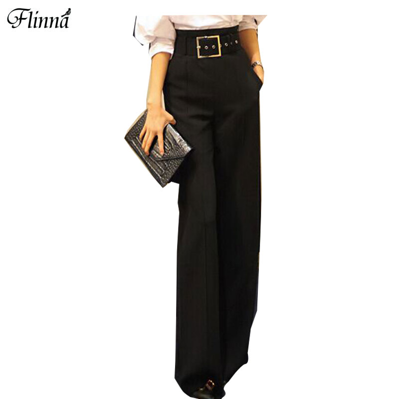 Solid Loose Fashion Office Lady Style Formal Pants High Wide Leg Black Thickening Trousers With Belt