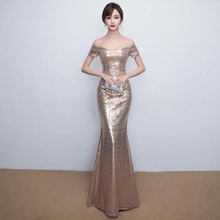 D002 sexy elegant rose gold off the shoulder slash neck floor length long sequined dress