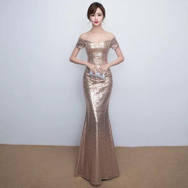 D002 sexy elegant rose gold off the shoulder slash neck floor length long sequined  dress 851a89dc45de