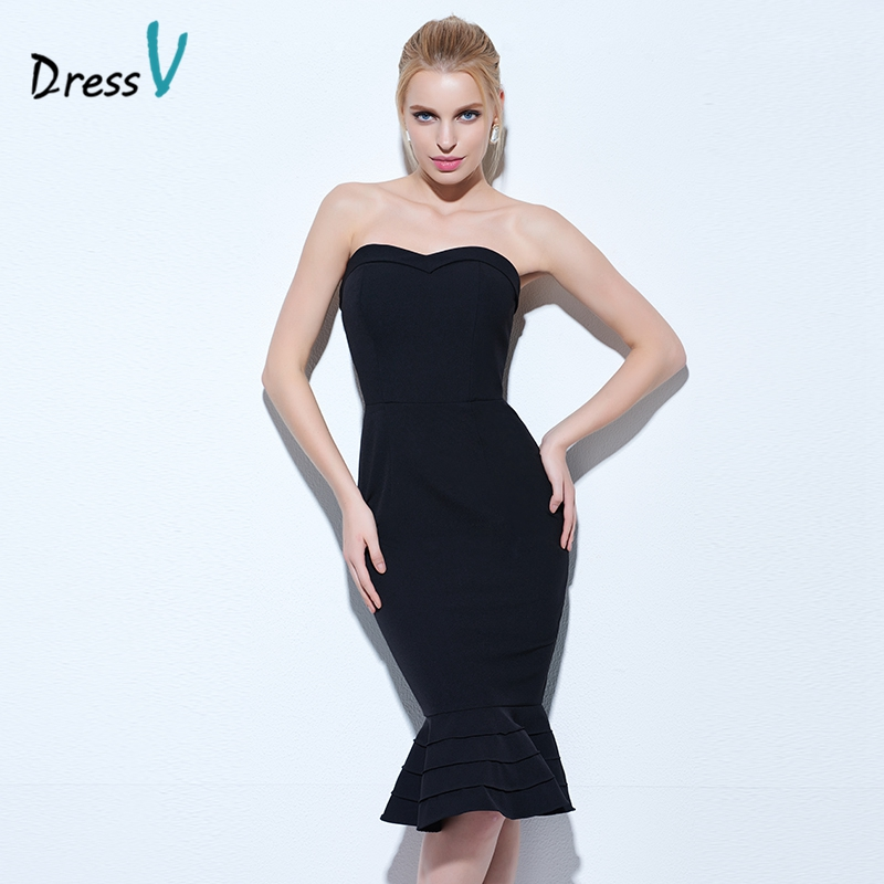 Dressv black mermaid cocktail dress strapless sleeveless knee length zipper up trumpet cocktail dress cheap short cotail dresses