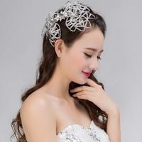 Nouvelle arrivée de mariée cheveux accessoires belle mariée bandeaux blanc dentelle et bling bling verre cristal pave de mariage bandeau