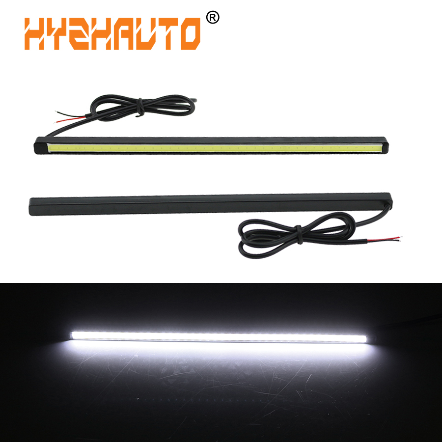 1Pair 20CM COB Daytime Running Lights DRL Auto Car Fog Driving Light Source White Waterproof Ultra Slim Strip Lamps Car Styling icoco 3 led waterproof car light universal daytime running lights dc12v super white auto car fog lamps car styling