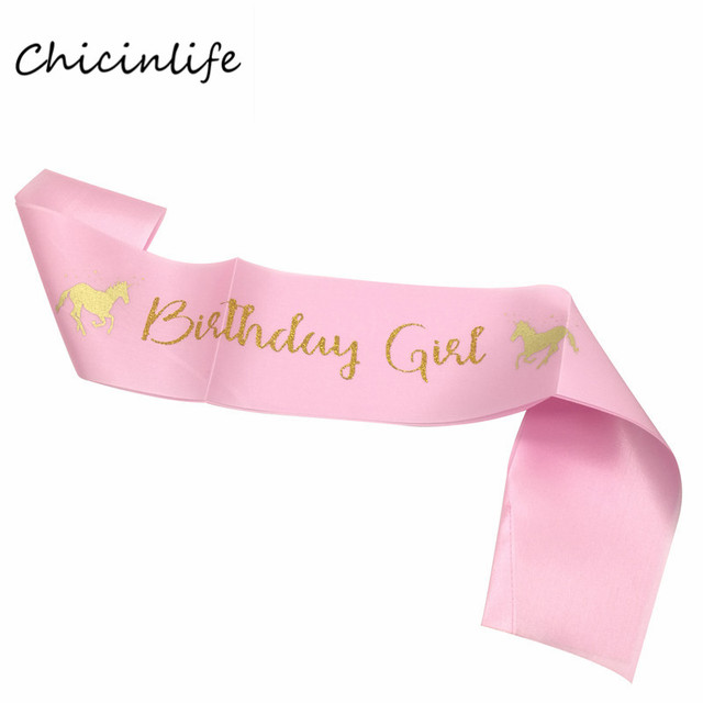chicinlife pink unicorn birthday girl sash birthday party decoration baby shower girl favor unicorn birthday banner