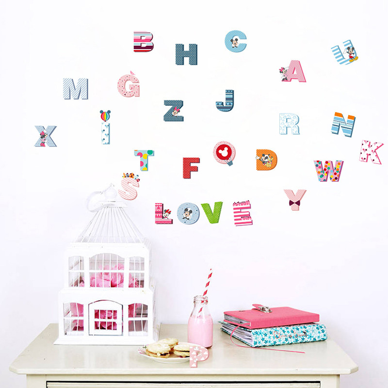 Aliexpress.com : Buy Cartoon Colorful Mickey 26 Letters Alphabet Wall  Stickers For Kids Rooms Nursery Room Decor Children Wall Decal Art Poster  Gift From ... Part 40