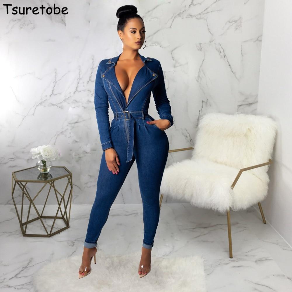 Tsureobe Sexy Bandage Denim Jumpsuit Womens V Neck Tight Fashion Zippers Bodysuit Elegant High Quality Casual Overalls Female