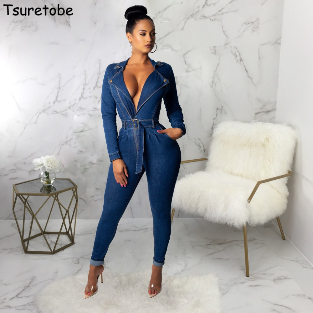 Tsureobe Sexy Bandage Denim   Jumpsuit   Womens V Neck Tight Fashion Zippers Bodysuit Elegant High Quality Casual Overalls Female