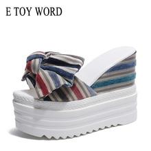 E TOY WORD Women Bowknot Platform slippers Fashion Sexy Super High Heel 12 CM Slippers Lady  Peep Toe Korean Summer Shoes