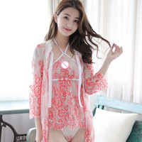 Two Set 2018 Summer Women Sexy Flowers Lace Net Yarn Transparent Lingerie Erotic Seduction Robe Sleepwear Slips Red/Black/Blue