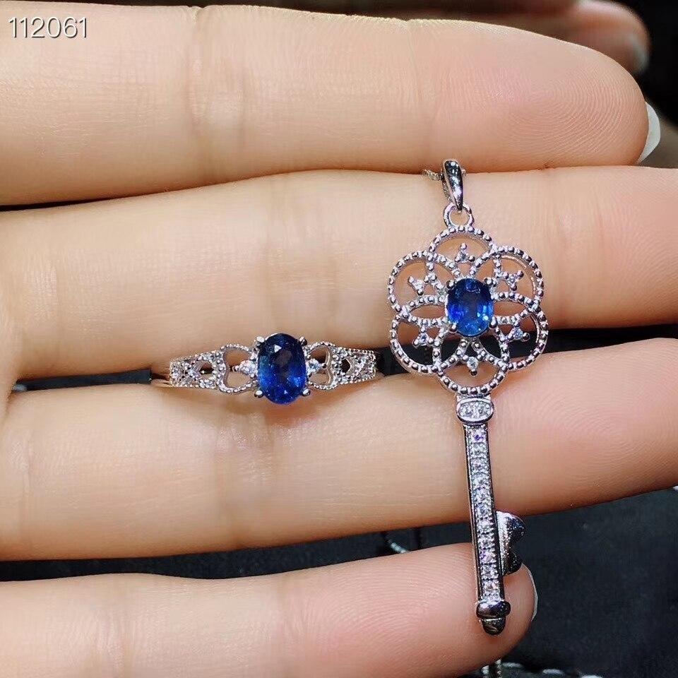Antico Bella Scava Chiave S925 silver blue natural sapphire gemma dell'anello Del Pendente naturale della pietra preziosa dei monili donna del partito del regalo - 4