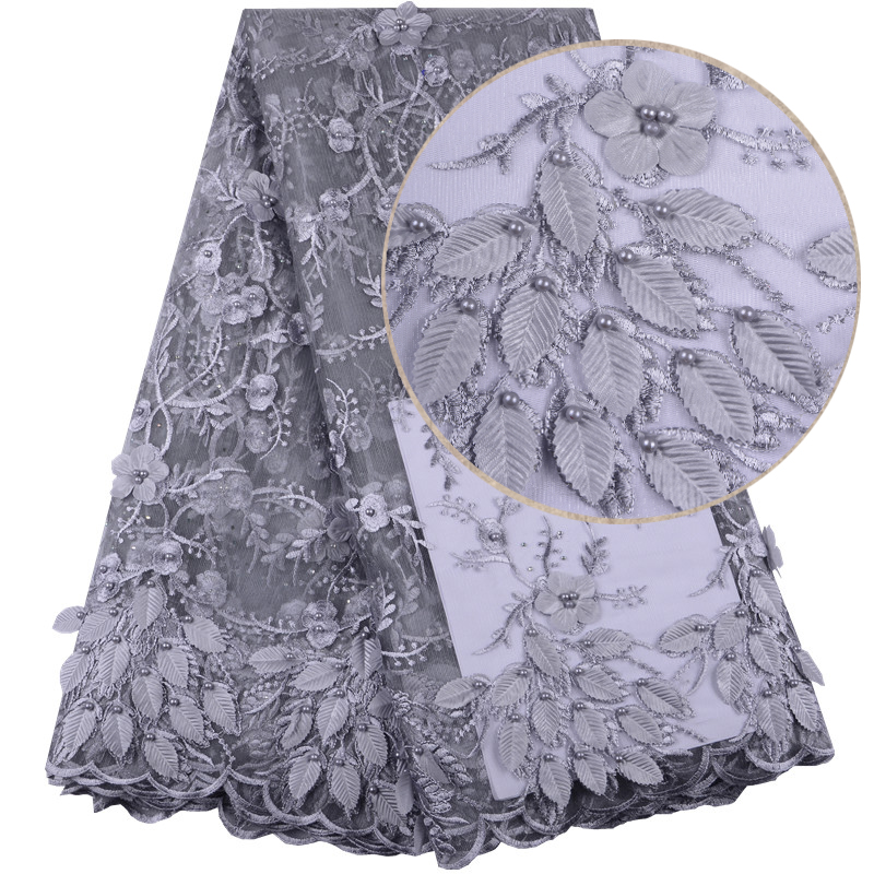 Embroidery Grey Color Guipure 3D French Tulle Net Lace With Stones Appliques Nigerian 3D Flowers French