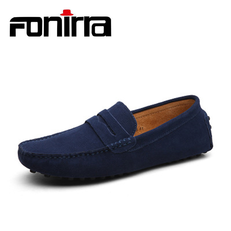 FONIRRA 2019 Men Loafers Genuine   Leather   Casual Shoes 10 Colors Slip on Men Flats Chaussure Homme Moccasin Plus Size 38-47 053