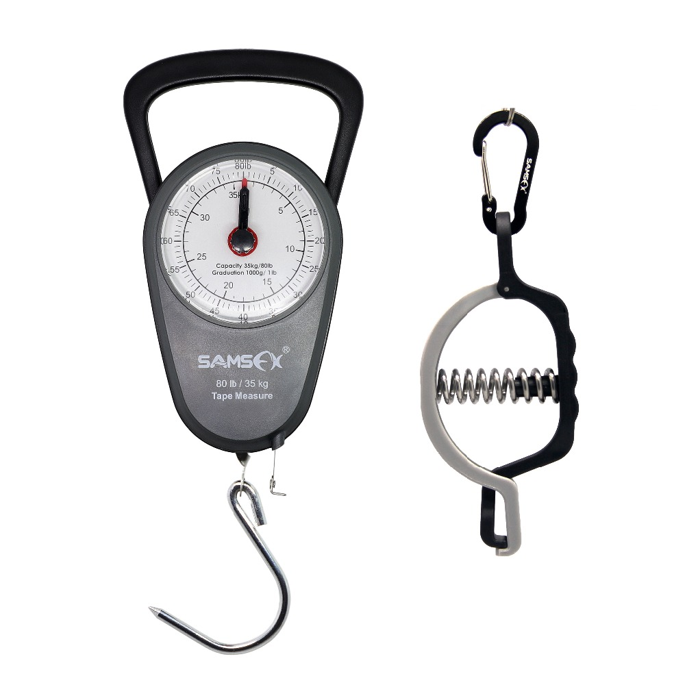 SAMSFX Fishing Mini Fish Lip Grip Gripper Clamp Luggage Travel Mechanical Hanging Scale Pocket Portable Weight Tool Steelyard