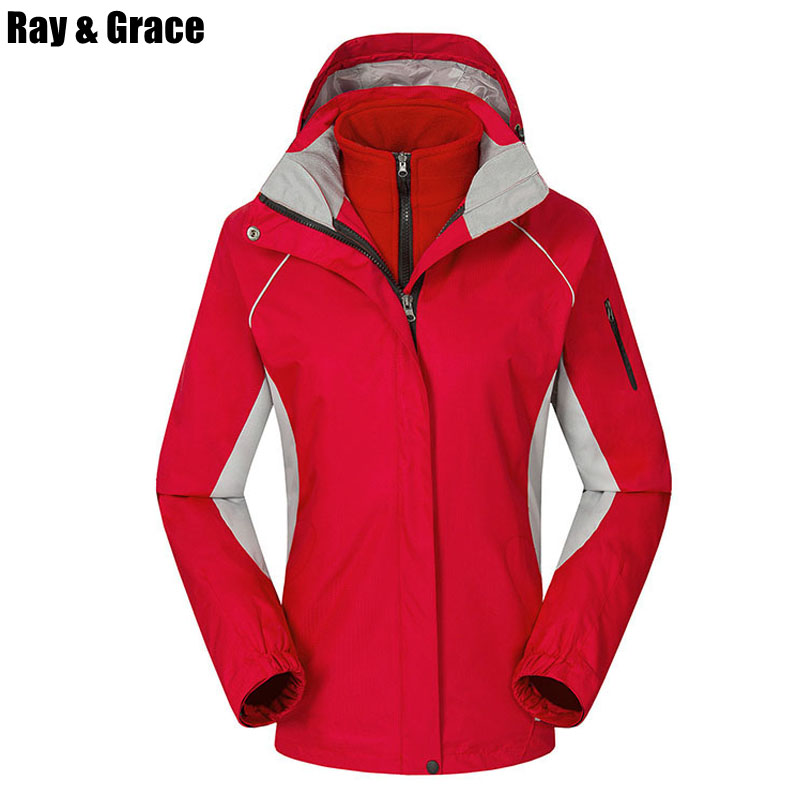 RAY GRACE Winter Women Fleece Jackets Hiking Jacket Female Thermal Outdoor Softshell Sport Clothes Camping Trekking