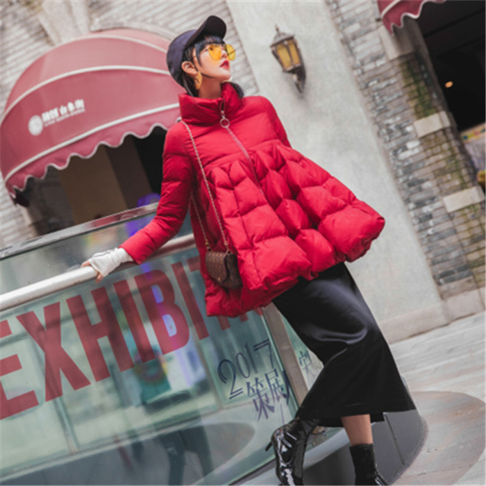 Female Coat Cloak  Thickening And Fattening Casual Style 4XL 5XL 6XL 7XL Black Red Navy Womens Winter Duck Down Jacket