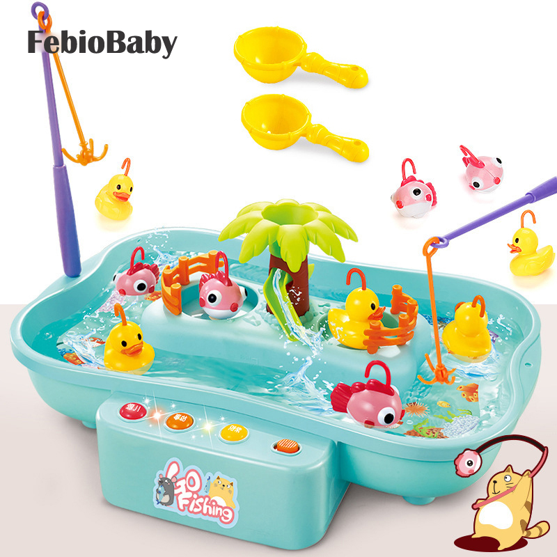 Children Emulational Electric Rotary Fishing Toy Set Real Water Flow Duck Fish Toys Hydrodynamic Cycle Music & LED Fish Pool Set