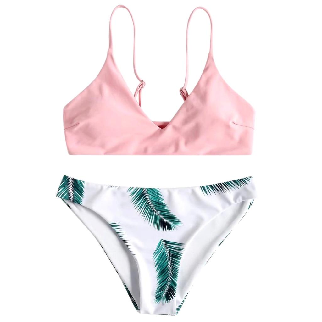Bikini 2018 Hot Sale 2019 Women's swimming suit Women's Bikini Set Sexy Leaves For Rope Swimsuit Push-up Swimwear 2.0#
