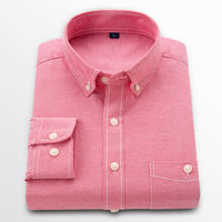 2019 new arrival men's shirts long sleeve solid cotton oxford dress business shirts casual fashion High Quality Slim Fit 3080