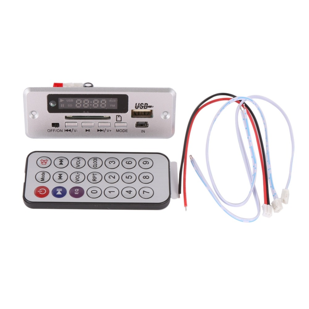 EDAL  Wireless MP3 Player Decoder Board Audio Module USB TF Radio For Car Red Digital LED With Remote Controller