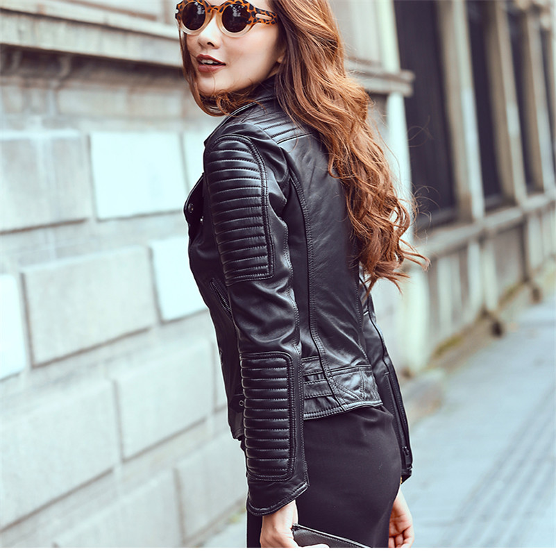 2017 fashion genuine leather jacket women black sheepskin women's ...