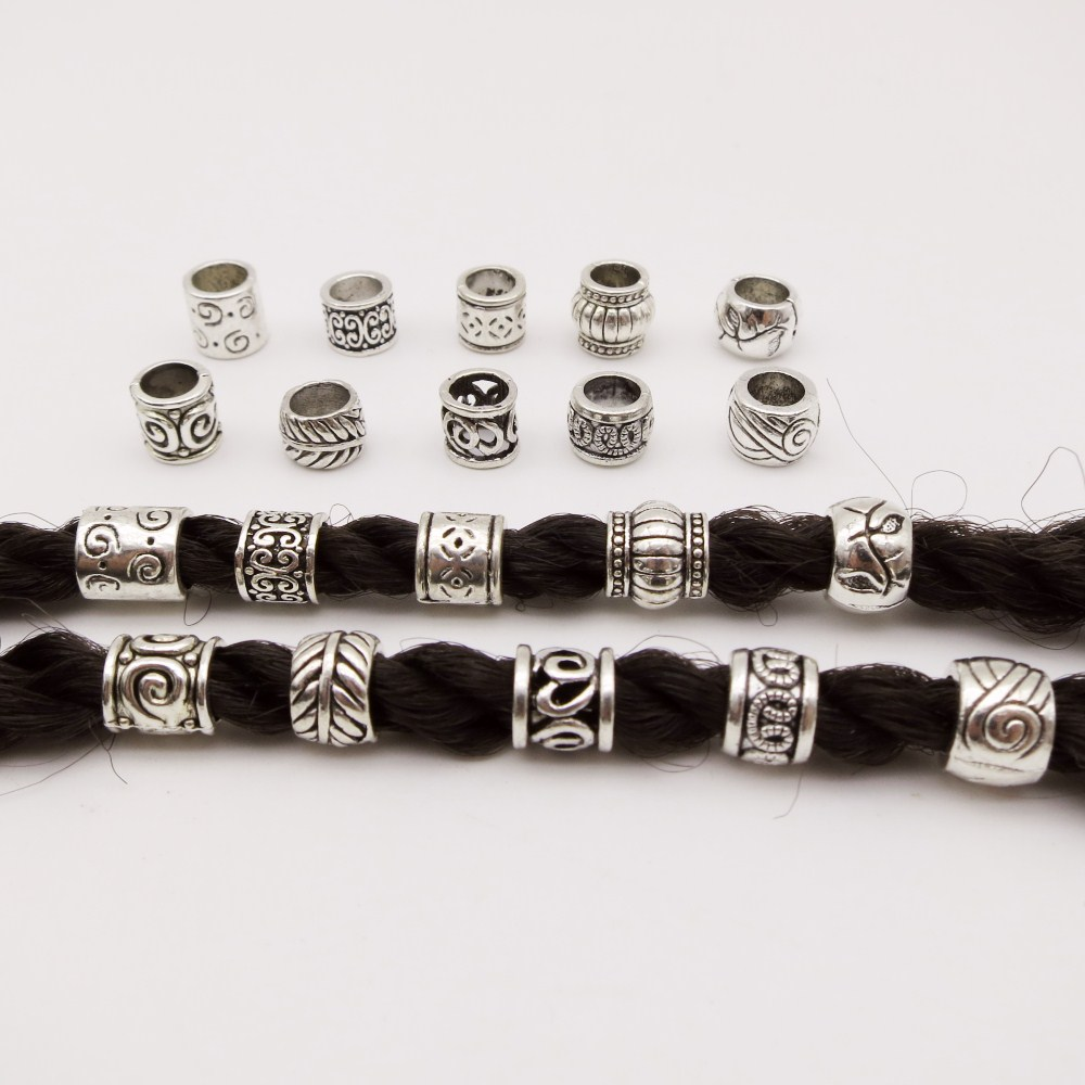 10pcs/pack Antique Silver Different 10 Styles Hair Braid Dread Dreadlock Beads Rings Tube Approx 5.9-6.4mm Inner Hole Jewelry(China)
