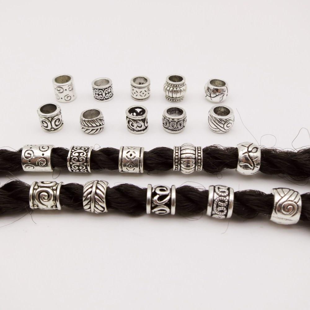 24x Silver Braid Hair Beads 5mm Hole Dreadlocks Beads Rings For Hair Extensions