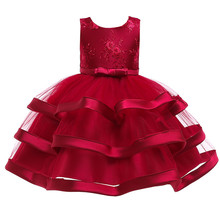 Christmas Clothes Girls Lace Cake Princess Dress Kids Flower Party Birthday Elegant Dress for 2-10 Years Red Blue White Summer