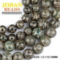 China Budismo Tibetano de Dzi Ojos cuentas de ágata Verde Natural de Piedra Redonda del grano Flojo 8/10/12 MM perlas para la fabricación de joyas pulsera DIY