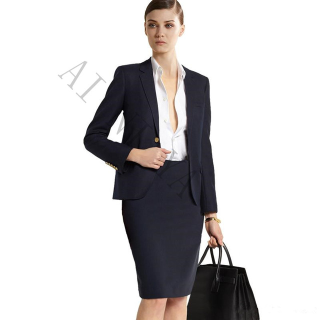 Women Skirt Suits Two Piece Ladies Formal Skirt Suit For Wedding ...