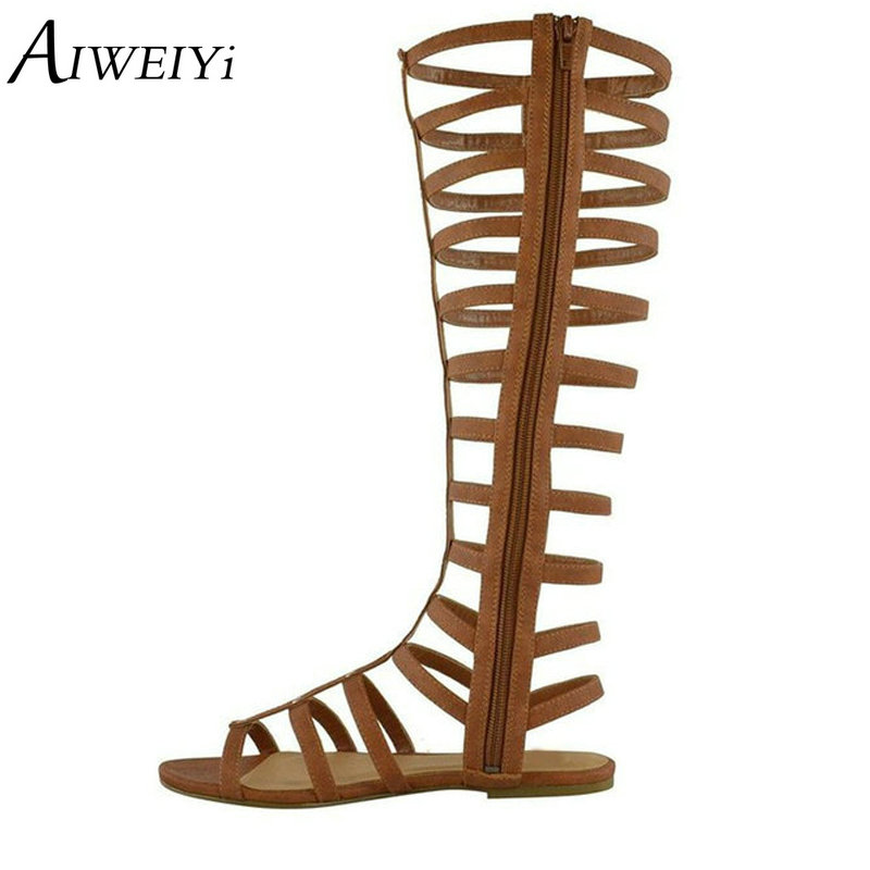 AIWEIYi Women's Open Toe Multi Strap Back Zipper Casual Knee High Gladiator Sandals Summer Knee Boots Motorcycle Boots магнитный наколенник magnetic knee strap