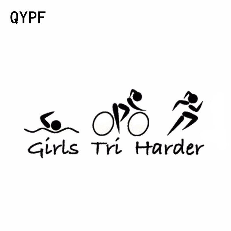 Qypf 25.4cm * 9.6cm engraçado triathlon meninas tri mais difícil vinil etiqueta do carro S2-0401
