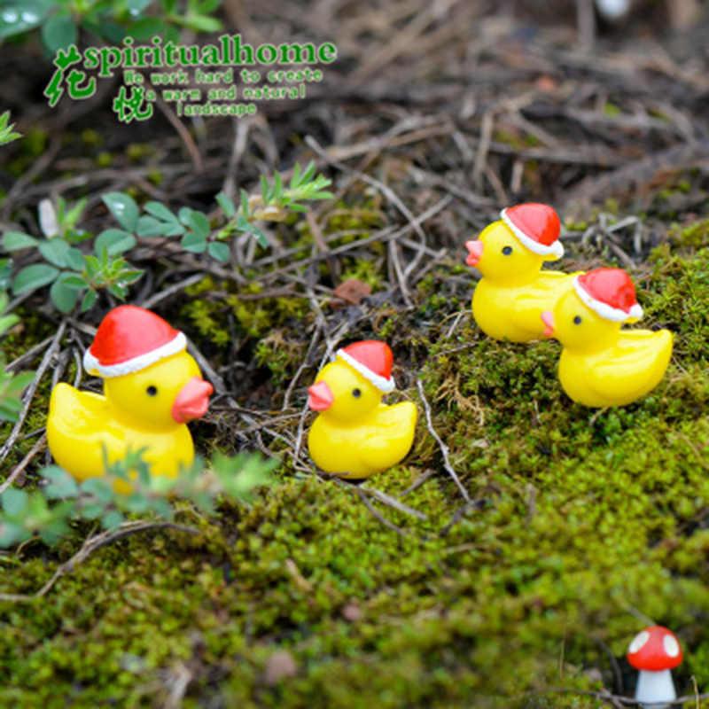 Zocdou pato quacker chapéu dia de natal bonito pequena estátua decoração para casa acessórios em miniatura crianças decoração artesanato estatuetas