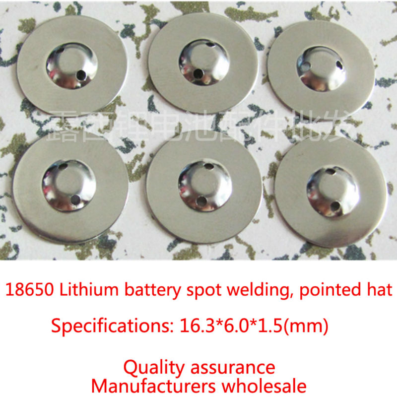 Купить с кэшбэком 100pcs/lot Manufacturers Wholesale And 18650 Lithium Battery Anode Cap Steel Tipped 18650 Batteries Pointed Cap Accessories
