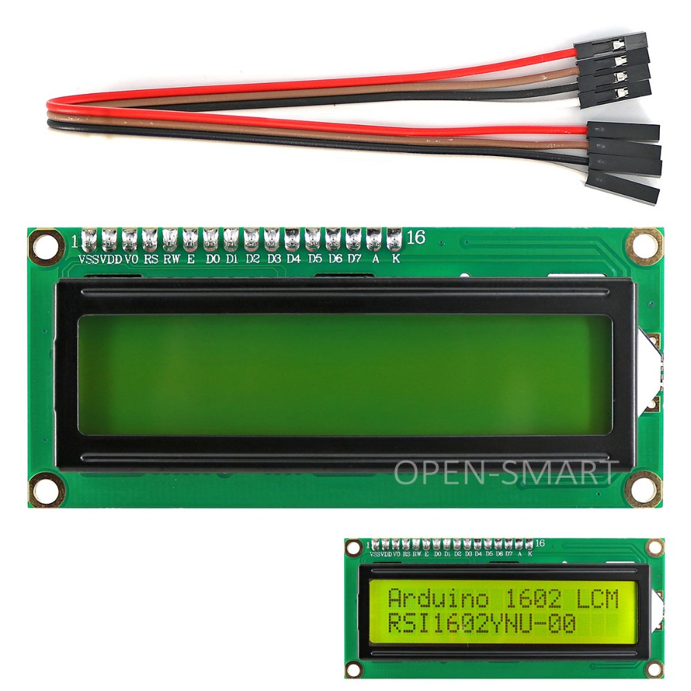 I2C / IIC LCD 1602 Yellow-green Display Module For Arduino / Raspberry Pi / AVR / STM32