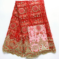 African Lace fabric Hot Sell Mesh 2017 New Arrival Plain red Color French tulle Lace /guipure lace Fabrics High Quality QE291